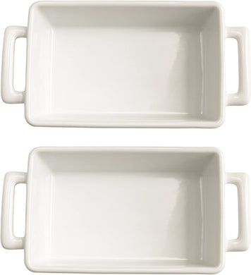 HIC Harold Import Co White Porcelain 8.5 x 5.5 Inch Individual Lasagna Pan, Set -