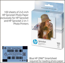 "Load image into Gallery viewer, HP Sprocket 2x3"" Premium Zink Sticky Back Photo Paper (100 Sheets) Compatible with HP Sprocket Photo Printers -"