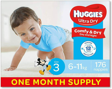 Huggies Nappies, Boys Size 3 Crawler  176 -