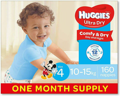 Huggies Nappies Boys Size 4 Toddler 160 -