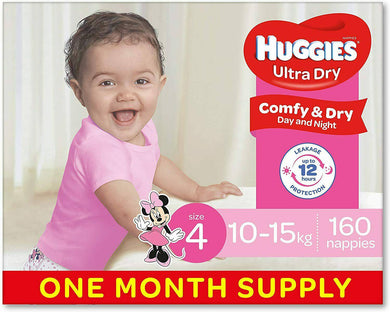 Huggies Nappies, Girls Size 4 Toddler  160 -