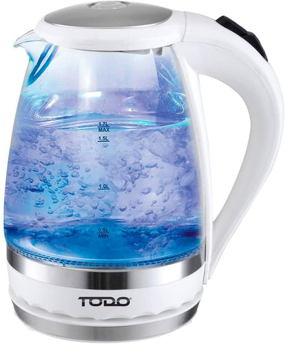 Kettle Electric Todo 1.5L Glass Cordless Kettle Electric Blue Led Light clear -