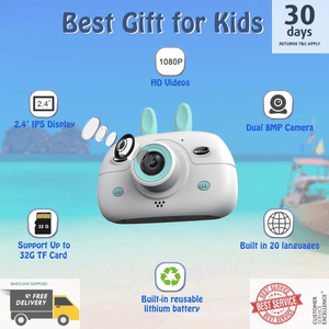 Kids Digital Video Camera Front and Rear Selfie 8MP Mini Rechargeable Camcorder -