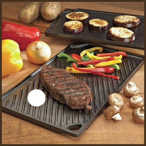 Lodge LDP3 Rectangular Cast Iron Reversible Grill/Griddle, Black -