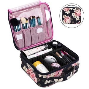 Makeup Bag Travel Cosmetic Bag for Women Nylon Cute Makeup Case Large Dark Blue -