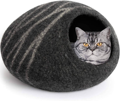 MEOWFIA Premium Felt Cat Bed Cave (Medium) - Handmade 100% Merino Wool Bed -