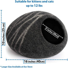 Load image into Gallery viewer, MEOWFIA Premium Felt Cat Bed Cave (Medium) - Handmade 100% Merino Wool Bed -