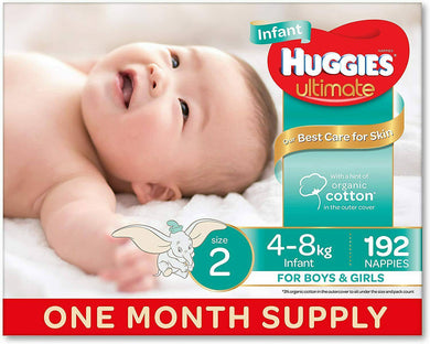 Nappies Size 2 Infant 192 Huggies -