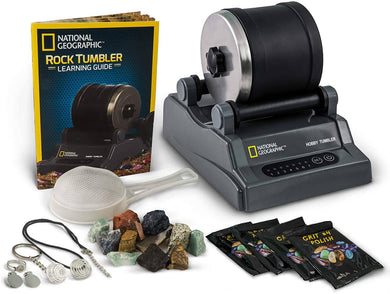 NATIONAL GEOGRAPHIC Hobby Rock Tumbler Kit Rough Gemstones 4 Polishing Grits -