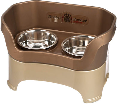 Neater Feeder Deluxe Large Dog (Bronze) - The Mess Proof Elevated Bowls No Slip -