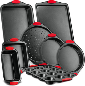 Nutrichef NCSBS8S 8-Piece Carbon Steel Nonstick Bakeware Baking Tray Set -
