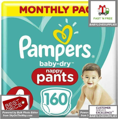 Pampers Baby-Dry Nappy Pants Size 4 Toddler (9kg-15kg), 160 -