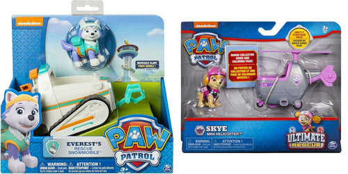Paw Patrol Everest Snowmobile+Skye's Mini Helicopter set Nickelodeon USA IMPORT -