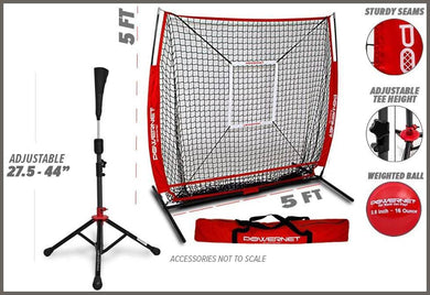 PowerNet 5x5 Practice Net + Deluxe Tee + Strike Zone + Weighted Training Ball Bundle -