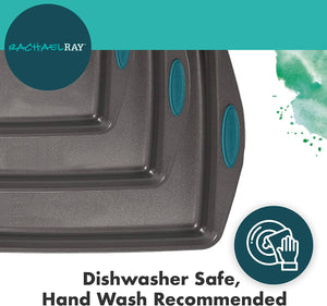 Rachael Ray 47425 Nonstick Bakeware Set with Grips, Nonstick Cookie Sheets -