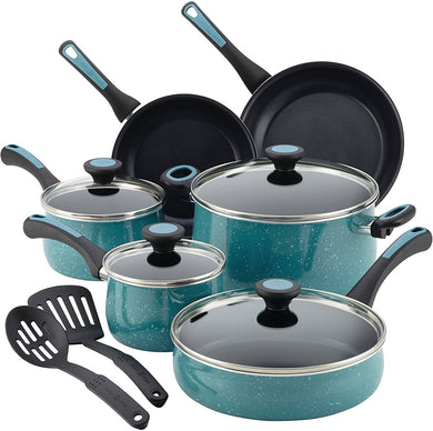 Rachael Ray Cucina Nonstick Cookware Pots and Pans Set, 12 Piece Agave Blue -