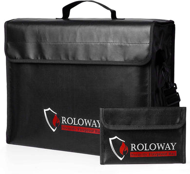 ROLOWAY Large (17 x 12 x 5.8 inches) Fireproof Bag, XL Fireproof Document Bags -