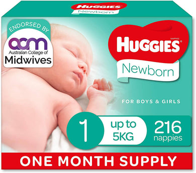 Size 1 Newborn 216  Huggies Nappies -