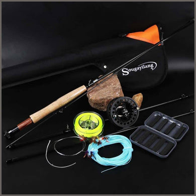 Sougayilang Saltwater Freshwater Fly Fishing Rod with Reel Combo Kit -