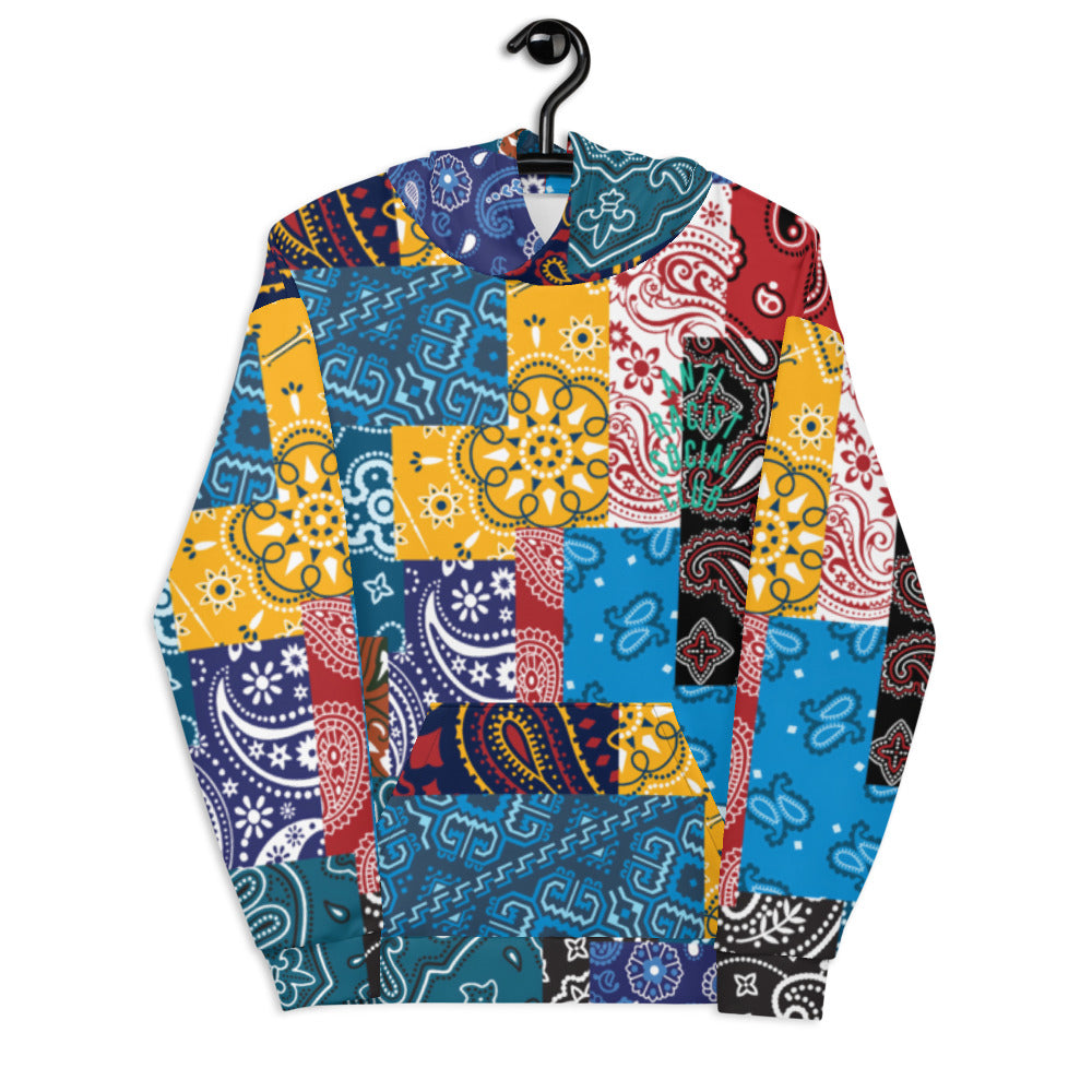 Anti Racist Social Club Paisley And Patchwork Bandana (Square Print ) Unisex Hoodie