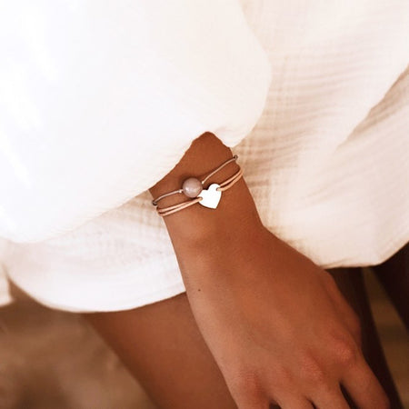 Classic Heart Bracelet - White Gold Plated