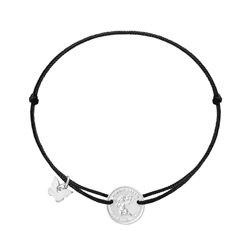 Angel Medallion Bracelet - White Gold Plated - BRACELET - [variant.title]- Borboleta