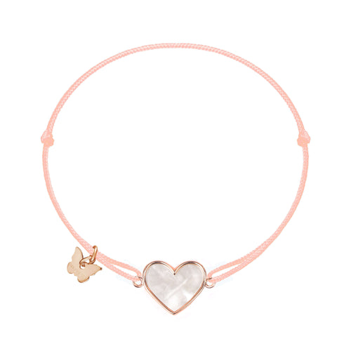 Mother of Pearl Heart Bracelet - Rose Gold Plated - BRACELET - [variant.title]- Borboleta