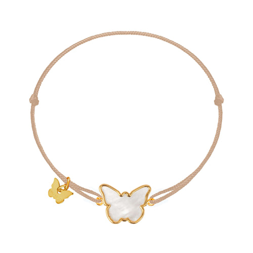 Mother of Pearl Butterfly Bracelet - Yellow Gold Plated - BRACELET - [variant.title]- Borboleta