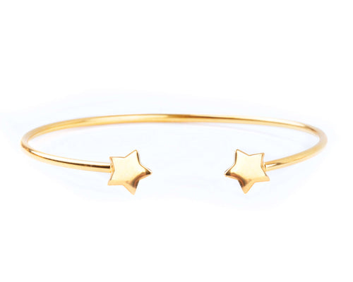 Sterling Silver Cuff Bracelet - Yellow Gold Plated - BRACELET - [variant.title]- Borboleta