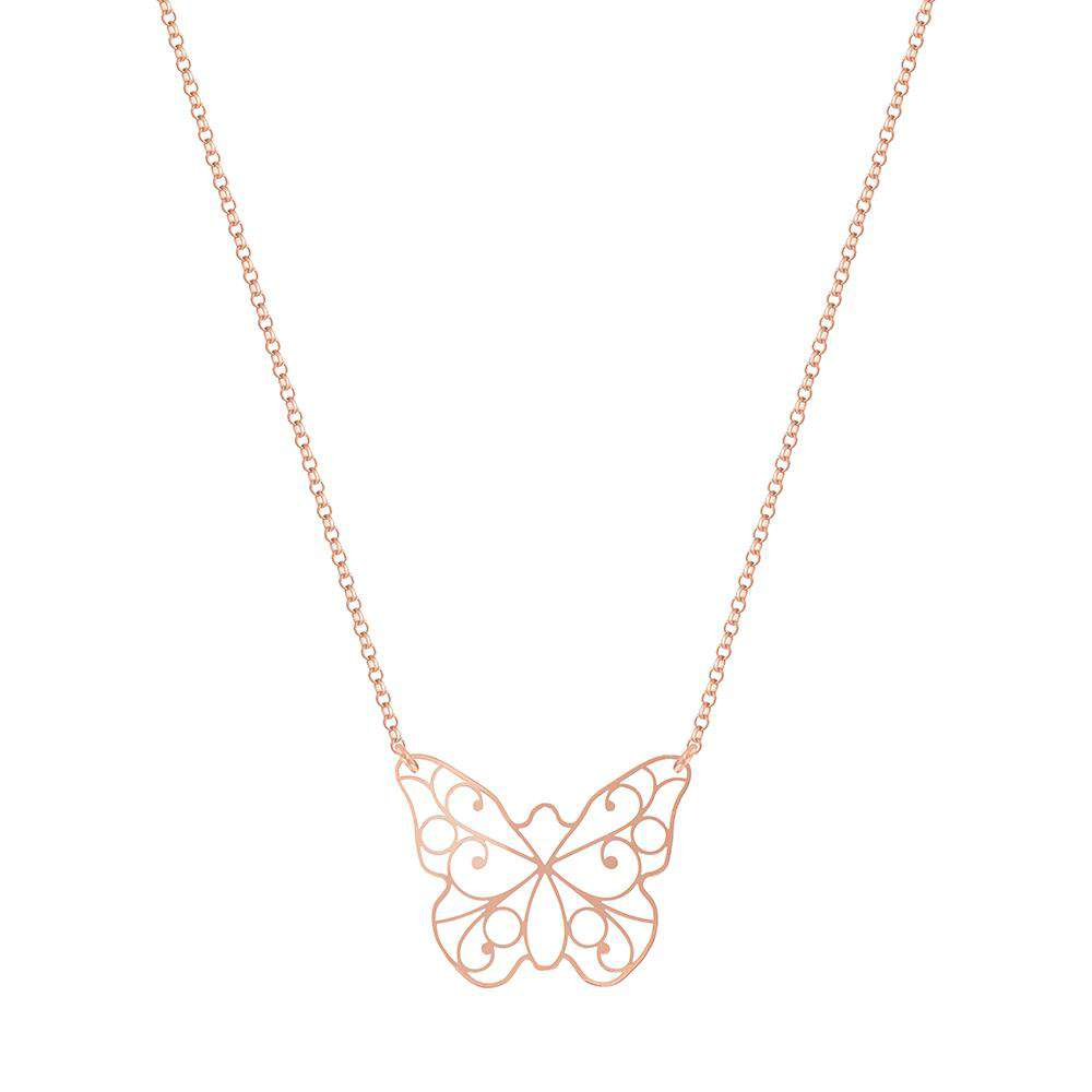 Sterling Silver Lace Butterfly Necklace - NECKLACE - [variant.title]- Borboleta