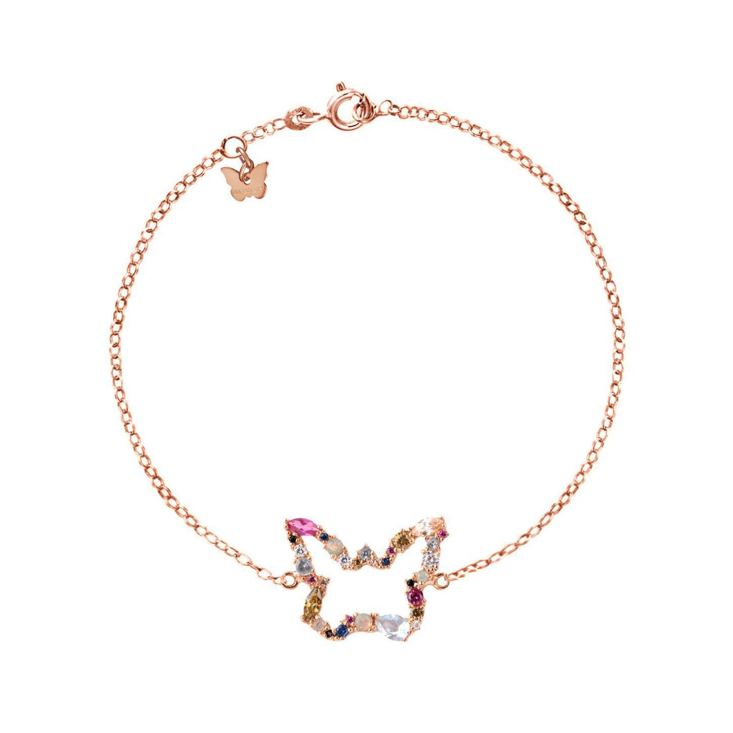 Sterling Silver Lueur Butterfly Bracelet - Rose Gold Plated