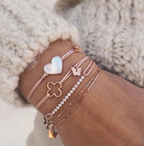 Mother of Pearl Heart Bracelet - Rose Gold Plated