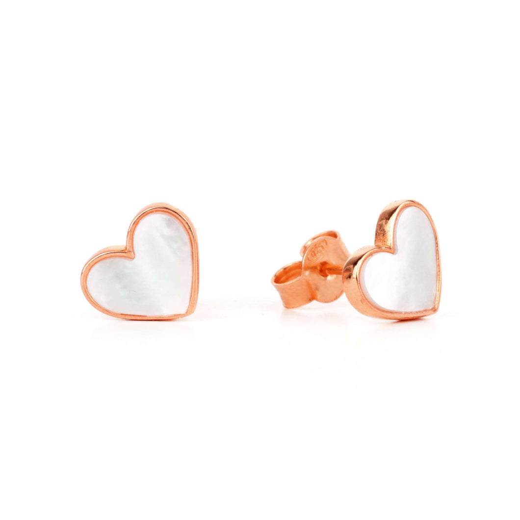 Memoire Small Heart MoP Earrings - Rose Gold Plated