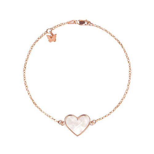 Sterling Silver Mother of Pearl Heart bracelet - Rose Gold Plated - BRACELET - [variant.title]- Borboleta