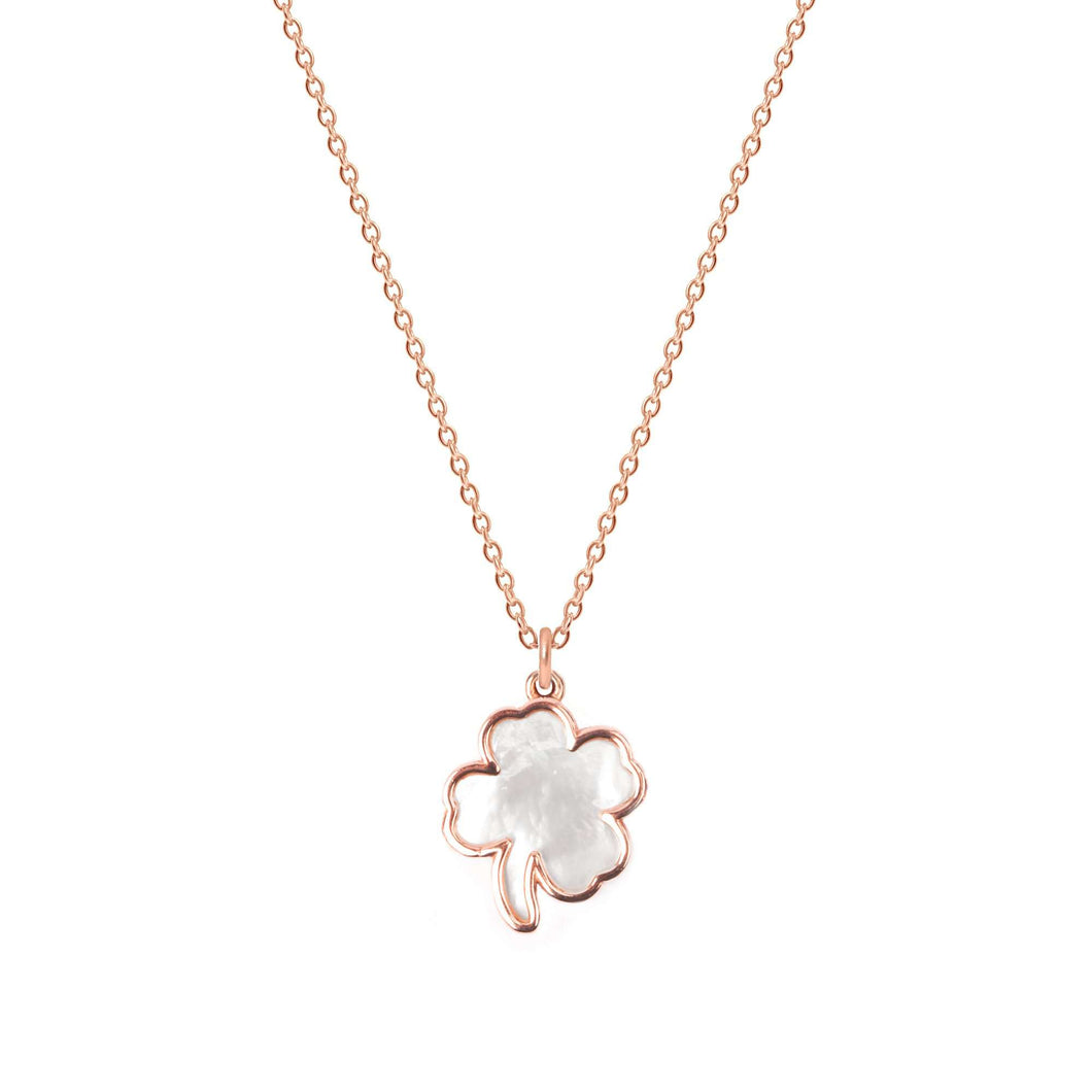 Sterling Silver Mother of Pearl Clover Necklace - NECKLACE - [variant.title]- Borboleta