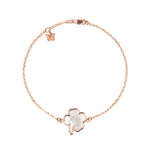 Sterling Silver Mother of Pearl Clover bracelet - Rose Gold Plated - BRACELET - [variant.title]- Borboleta