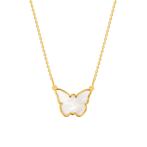 Sterling Silver Mother of Pearl Butterfly necklace - NECKLACE - [variant.title]- Borboleta