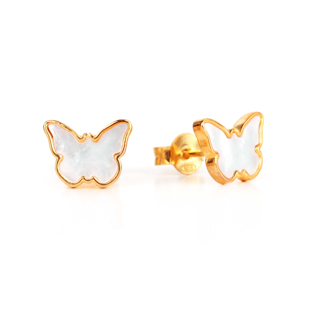 Memoire Small Butterfly MoP Earrings - Yellow Gold Plated