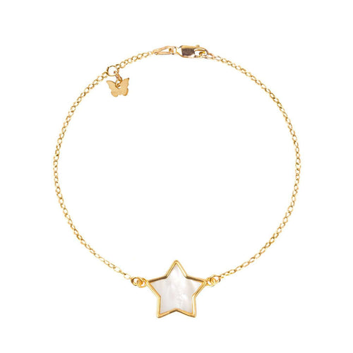 Sterling Silver Mother of Pearl Star Bracelet - Yellow Gold Plated - BRACELET - [variant.title]- Borboleta