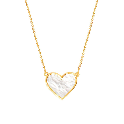 Sterling Silver Mother of Pearl Heart Necklace - NECKLACE - [variant.title]- Borboleta
