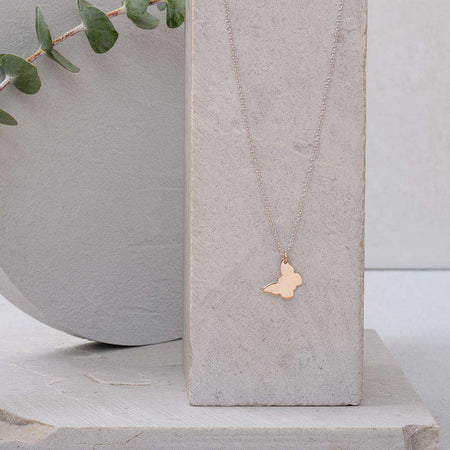 Sterling Silver Rose Gold Butterfly on White Gold Necklace - NECKLACE - [variant.title]- Borboleta