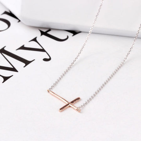 Sterling Silver Rose Gold Cross on Rhodium Necklace