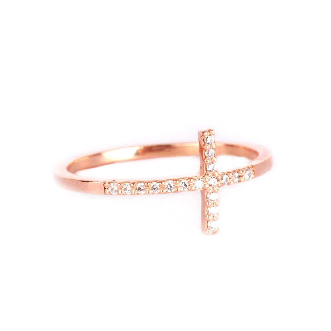 Memoire Zircon Cross Ring - Rose Gold Plated