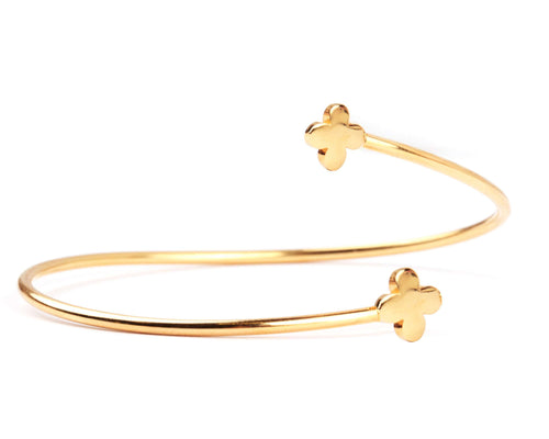 Sterling Silver Contaire Cuff Bracelet - Yellow Gold Plated - BRACELET - [variant.title]- Borboleta
