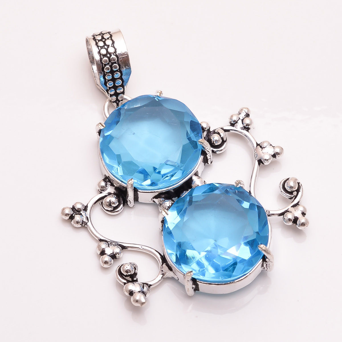 Blue Chalcedony Turquoise Sterling Silver Overlay 6 Grams Earring 1.5 Delicate Handmade Jewelry