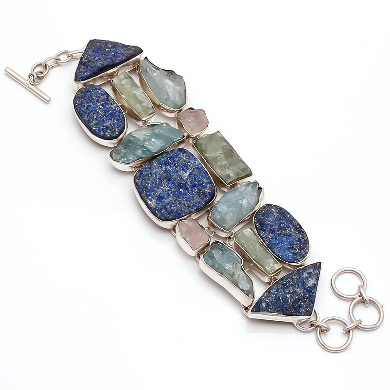 bracelet products aquamarine homesouk silver colour raw and sterling gemstone multi