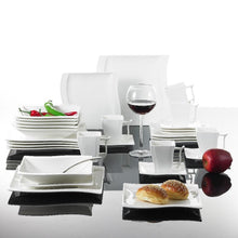 Load image into Gallery viewer, Serie of 60 Piece White Porcelain Dinner Set with 12 Piece Cup, Saucer, Dessert Soup Dinner Plates Service 12 Person - Home Garden Trend