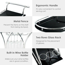 Load image into Gallery viewer, Glass Serving Rolling Bar Cart - Home Garden Trend