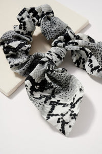 Snake Print Hair Scrunchy with Ribbon Tie Grey