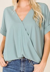 Woven Draped Front Top Light Green